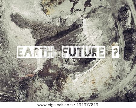 Earth Future. Aerial View Of Open Pit Sand In Poland.