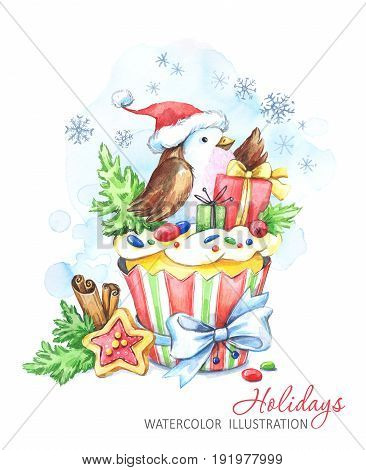 Watercolor bird with cake and New Year's gifts. Fairytaile New Year's illustration. Chrismas story. Sweet dessert. Can be use in winter holidays design, invitations, cards.
