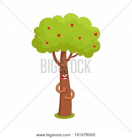 Funny comic tree character hugging itself, heart in leaves, symbol of love, cartoon vector illustration isolated on white background. Funny tree character, mascot with smiling human face showing love