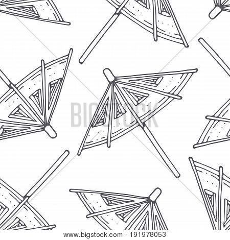 Hand drawn outline seamless pattern with cocktail umbrellas. Black and white food background. Vector illustration