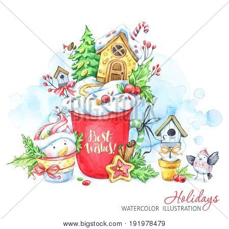 A cup of cream and a gingerbread house inside, snowman and bird. Watercolor illustration. Fairytaile New Year's landscape. Chrismas story. Hot drink, dessert. Can be use in winter holidays design.