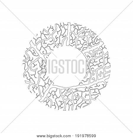 Nature Alphabet, Ecology Decorative Font. Capital Letter O Filled With Leaf Veins Pattern Black On W