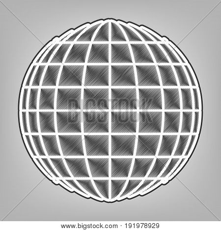 Earth Globe sign. Vector. Pencil sketch imitation. Dark gray scribble icon with dark gray outer contour at gray background.