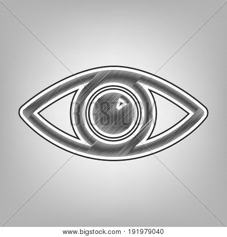 Eye sign illustration. Vector. Pencil sketch imitation. Dark gray scribble icon with dark gray outer contour at gray background.