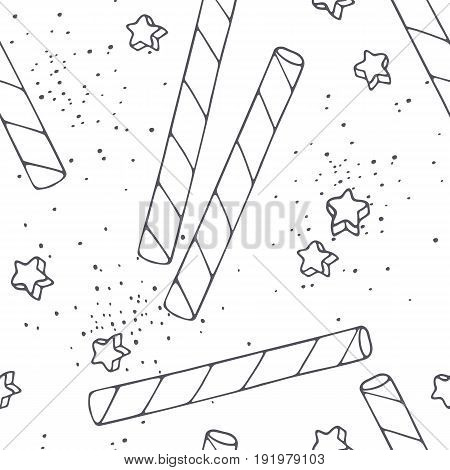 Hand drawn outline seamless pattern with cocktail straws. Black and white food background. Vector illustration