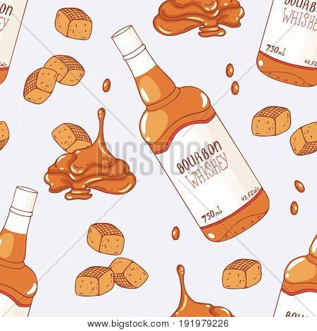 Seamless pattern with hand drawn caramel and bourbon whiskey flavor. Food background. Vector illustration