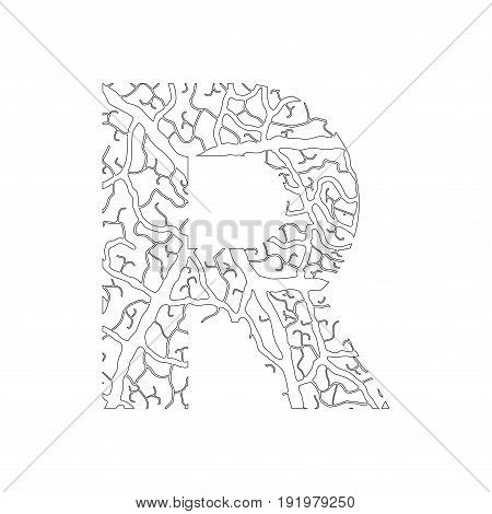 Nature Alphabet, Ecology Decorative Font. Capital Letter R Filled With Leaf Veins Pattern Black On W