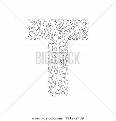 Nature Alphabet, Ecology Decorative Font. Capital Letter T Filled With Leaf Veins Pattern Black On W