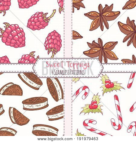 Set of hand drawn seamless patterns with raspberry, anise star, chocolate cookie and christmas candycane. Sweet toppings backgrounds. Vector illustration
