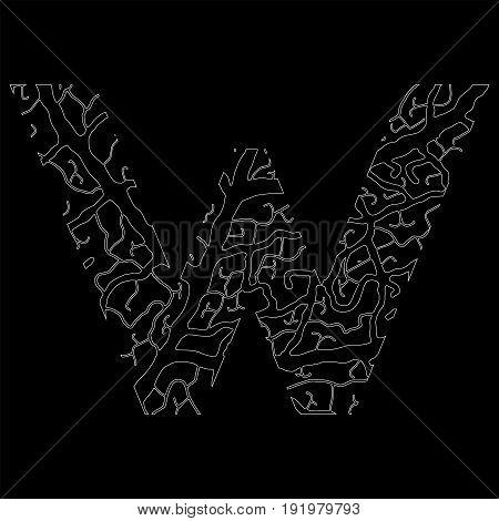 Nature Alphabet, Ecology Decorative Font. Capital Letter V Filled With Leaf Veins Pattern White On B