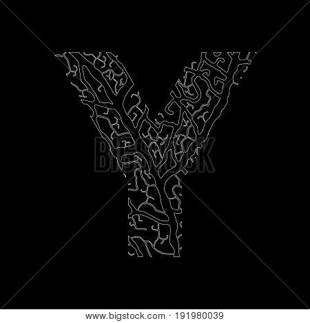 Nature Alphabet, Ecology Decorative Font. Capital Letter Y Filled With Leaf Veins Pattern White On B