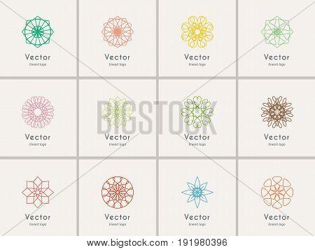 Color linear logo templates set. Vector arabic geometric symbols