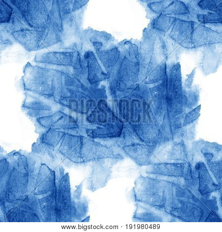 Watercolor seamless pattern blue brush strokes background design isolated