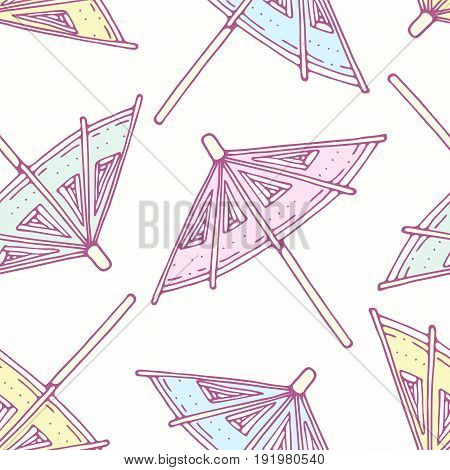 Hand drawn seamless pattern with cocktail umbrellas. Background for cafe, kitchen or food package. Vector illustration