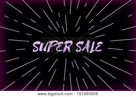 Vector super sale background with typography design and sunburst