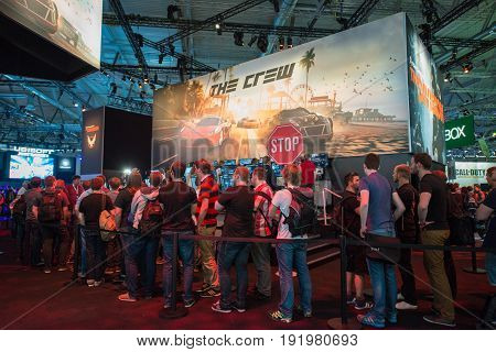 Cologne, Germany, August 13, 2014: The crew on gamescon. Gamescom is a trade fair for video games held annually at the Koelnmesse in Cologne.
