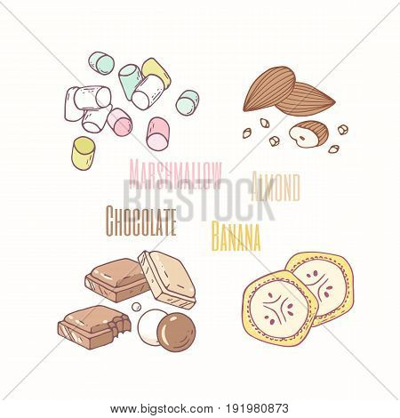 Set of sweet toppings marshmallow, almond, chocolate and banana. Hand drawn food. Vector illustration