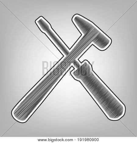 Tools sign illustration. Vector. Pencil sketch imitation. Dark gray scribble icon with dark gray outer contour at gray background.