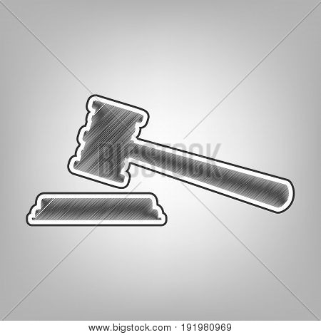Justice hammer sign. Vector. Pencil sketch imitation. Dark gray scribble icon with dark gray outer contour at gray background.