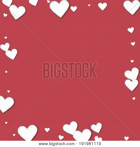 Cutout White Paper Hearts. Square Scattered Border With Cutout White Paper Hearts On Crimson Backgro
