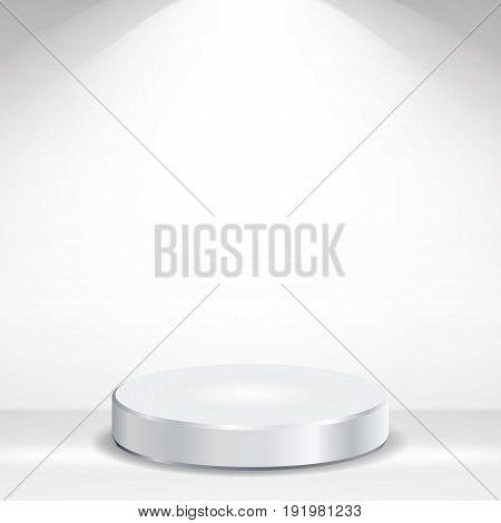 3d Empty Podium Vector. Round Empty White Podium On Clean light Interior Scene Mock Up. Vector