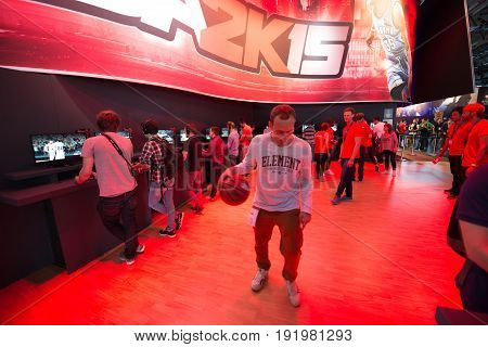 Cologne, Germany, August 13, 2014: NBA 2K15 on gamescon. Gamescom is a trade fair for video games held annually at the Koelnmesse in Cologne.