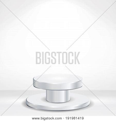 Realistic Podium Vector. Round 3d Empty White Podium On White Photo Studio Interior Background. Vector