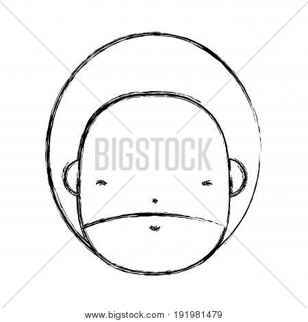 figure man face with beard and hairstyle to avatar kawaii vector illustration