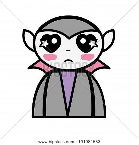 man tender vampiere with fangs and cape vector illustration