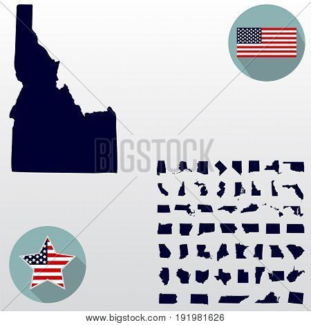 Map of the U.S. state of Idaho on a white background. American flag star