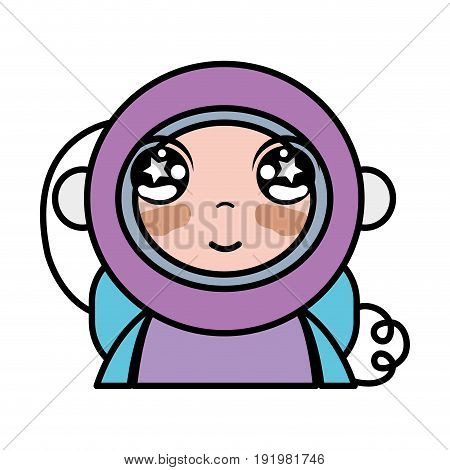 tender astronaut with equipment to kawaii avatar vector illustration