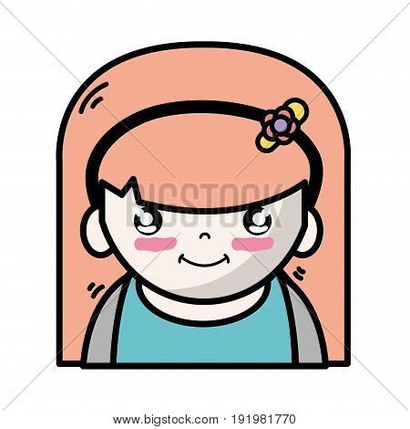 tender girl with hairstyle to kawaii avatar vector illustration