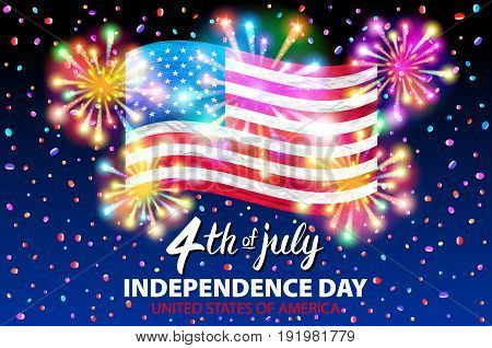 Illustration Of A Celebrating Independence Day Vector Poster. 4Th Of July Lettering. American Red Fl