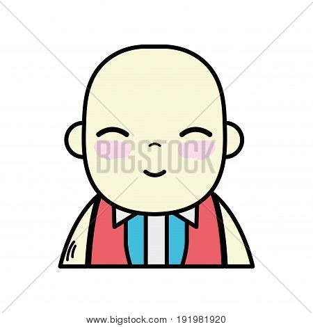 tender businessman with elegant clothes and kawaii avatar vector illustration