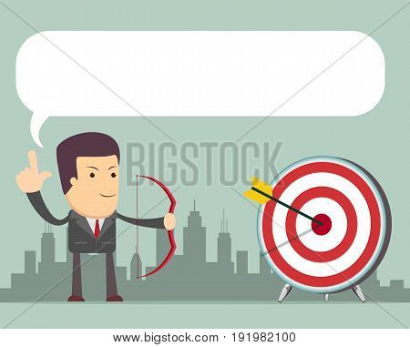 Successful business story concept. Happy and Lucky business woman Vector colorful illustration in flat style