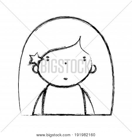 figure beauty girl with hairstyle to kawaii avatar vector illustration