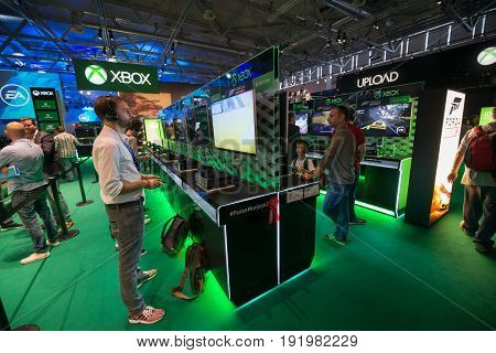 Cologne, Germany, August 13, 2014: Forza gameplay on gamescon. Gamescom is a trade fair for video games held annually at the Koelnmesse in Cologne.