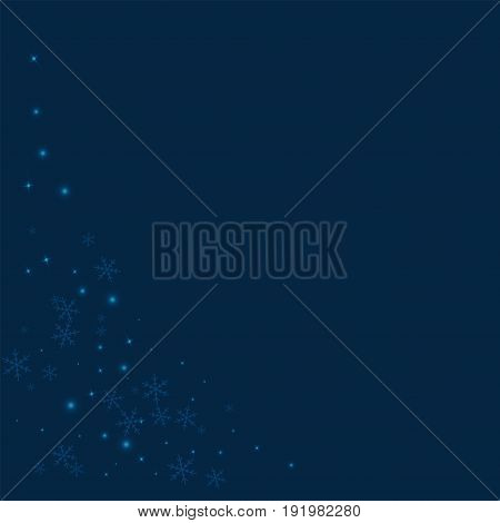Sparse Glowing Snow. Bottom Left Corner On Deep Blue Background. Vector Illustration.
