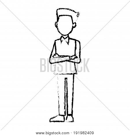 young businessman standing with folded arms shirt vector illustration