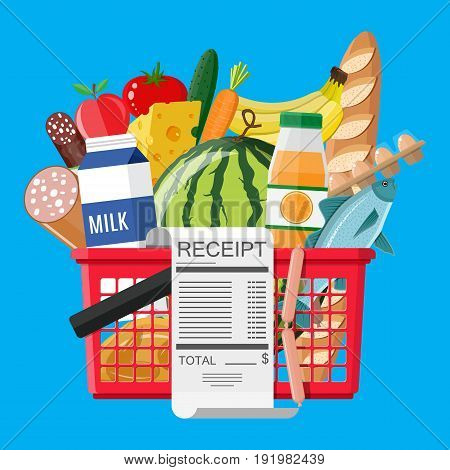 Plastic shopping basket full of groceries products and receipt. Grocery store. Supermarket. Fresh organic food and drinks. Vector illustration in flat style