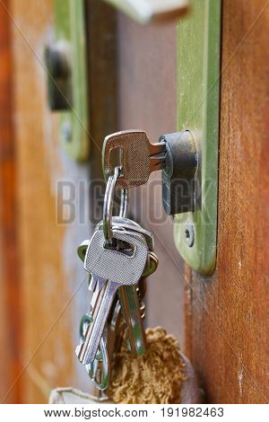 Bunch of key in a gate