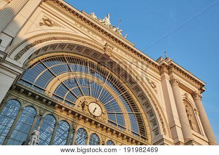 Facade of railway station Keleti in Budapest