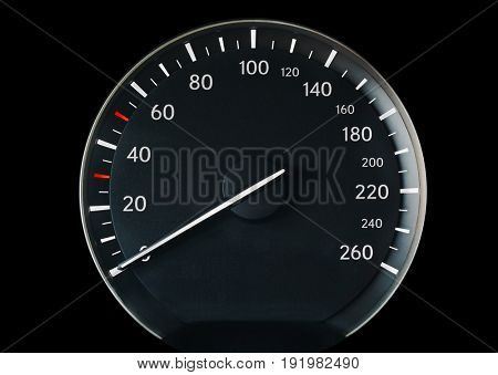 Speedometer of a car showing 0