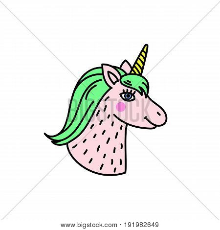 Cute handdrawn unicorn head. Miracle and magic creature. vector illustration