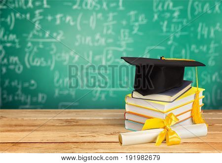 Diploma cap graduation background nobody paper isolated