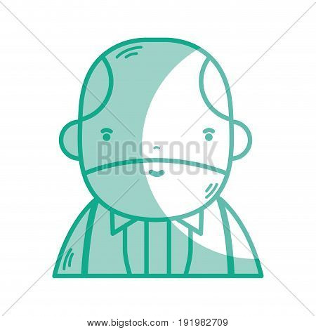 silhouette nice businessman with elegant clothes and kawaii avatar vector illustration