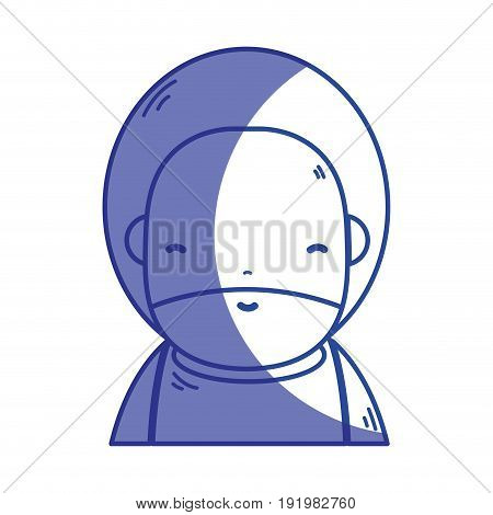 silhouette cute man with beard and hairstyle to avatar kawaii vector illustration