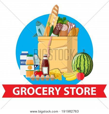 Paper shopping bag full of groceries products. Grocery store. Supermarket. Fresh organic food and drinks. Vector illustration in flat style