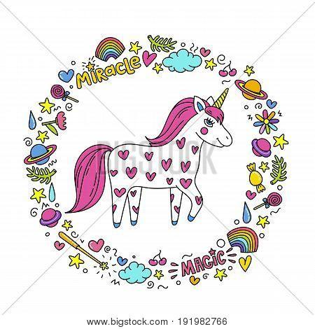 Cute handdrawn unicorn. Unicorn and magic stuff. Miracle and magic creature. Vector illustration.