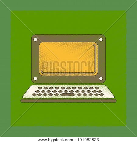 flat shading style icon of laptop technology